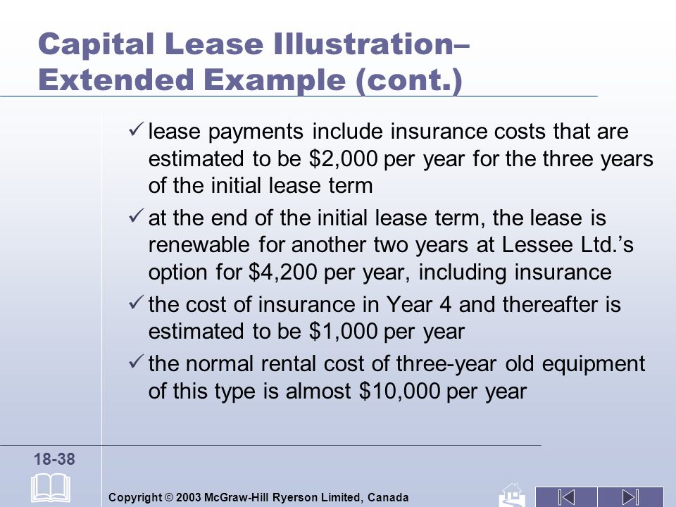 Copyright © 2003 McGraw-Hill Ryerson Limited, Canada 18-38 Capital Lease Illustration– Extended Example (cont.) lease payments include insurance costs that are estimated to be $2,000 per year for the three years of the initial lease term at the end of the initial lease term, the lease is renewable for another two years at Lessee Ltd.s option for $4,200 per year, including insurance the cost of insurance in Year 4 and thereafter is estimated to be $1,000 per year the normal rental cost of three-year old equipment of this type is almost $10,000 per year