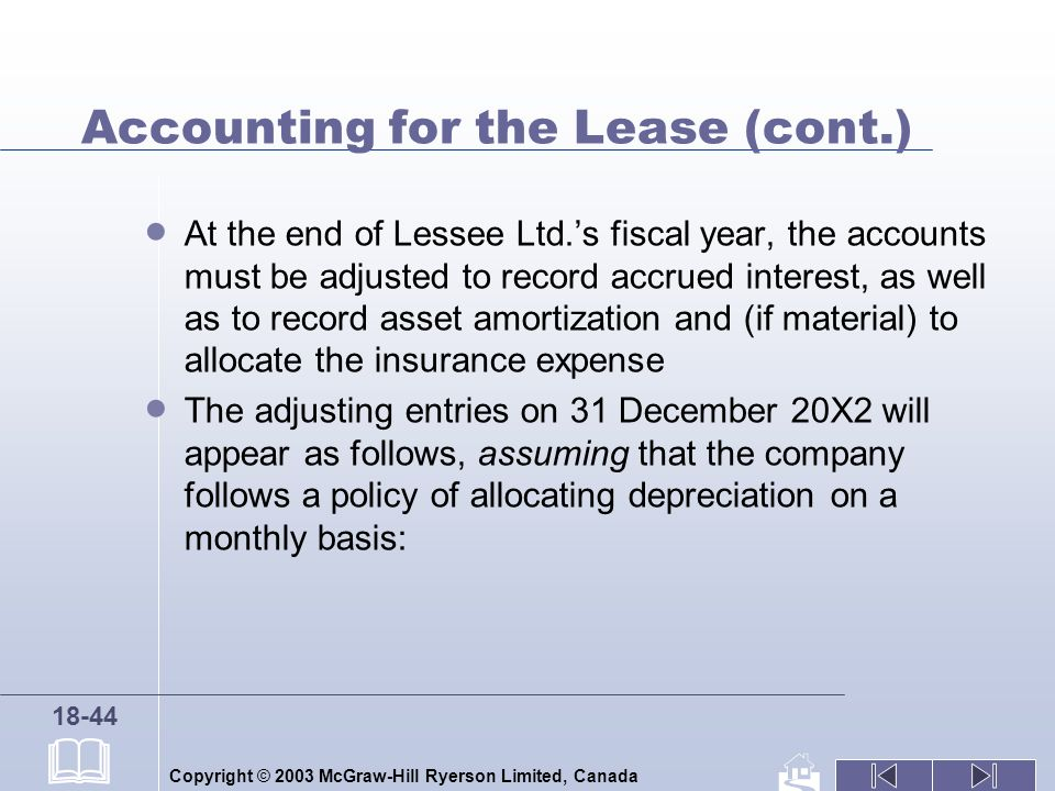 Copyright © 2003 McGraw-Hill Ryerson Limited, Canada 18-44 Accounting for the Lease (cont.) At the end of Lessee Ltd.s fiscal year, the accounts must be adjusted to record accrued interest, as well as to record asset amortization and (if material) to allocate the insurance expense The adjusting entries on 31 December 20X2 will appear as follows, assuming that the company follows a policy of allocating depreciation on a monthly basis: