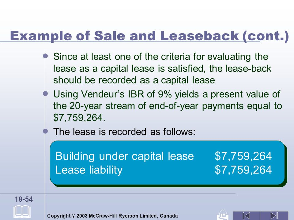Copyright © 2003 McGraw-Hill Ryerson Limited, Canada 18-54 Example of Sale and Leaseback (cont.) Since at least one of the criteria for evaluating the lease as a capital lease is satisfied, the lease-back should be recorded as a capital lease Using Vendeurs IBR of 9% yields a present value of the 20-year stream of end-of-year payments equal to $7,759,264.