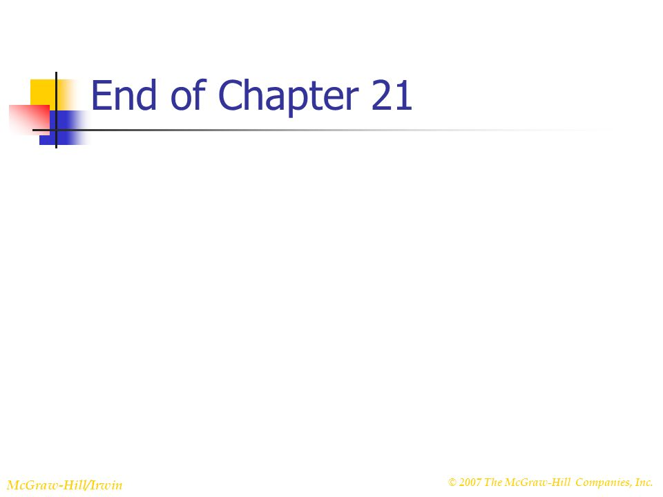 © 2007 The McGraw-Hill Companies, Inc. McGraw-Hill/Irwin Slide 22-38 End of Chapter 21