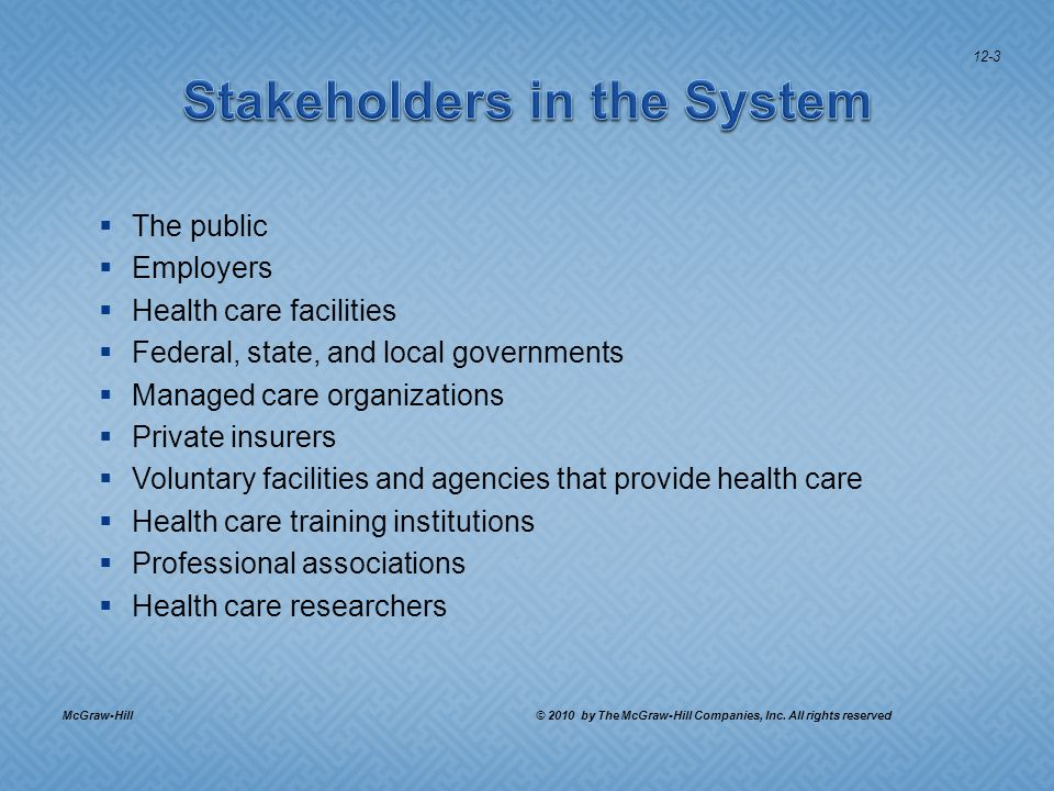 The public Employers Health care facilities Federal, state, and local governments Managed care organizations Private insurers Voluntary facilities and agencies that provide health care Health care training institutions Professional associations Health care researchers McGraw-Hill © 2010 by The McGraw-Hill Companies, Inc.