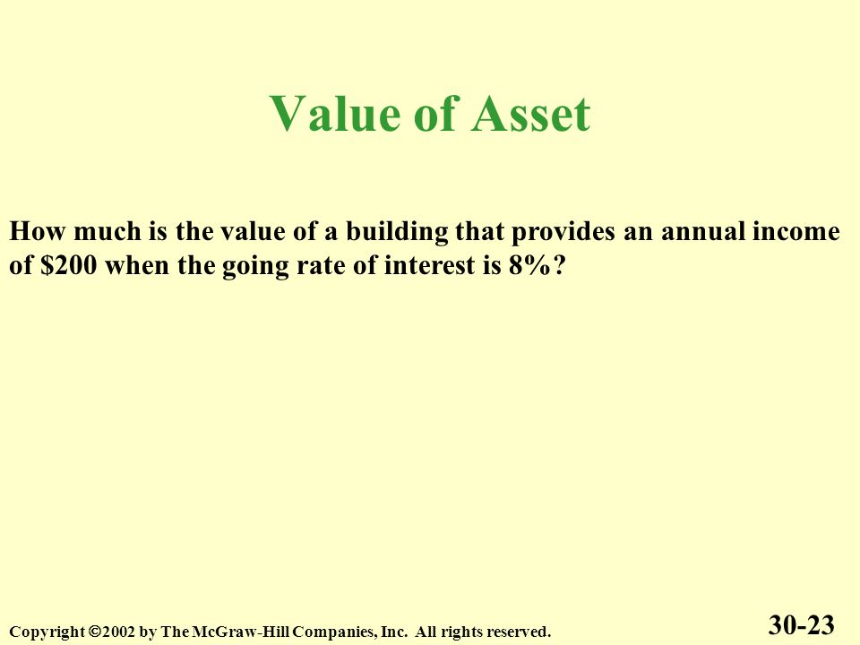 Value of Asset 30-23 Copyright 2002 by The McGraw-Hill Companies, Inc.