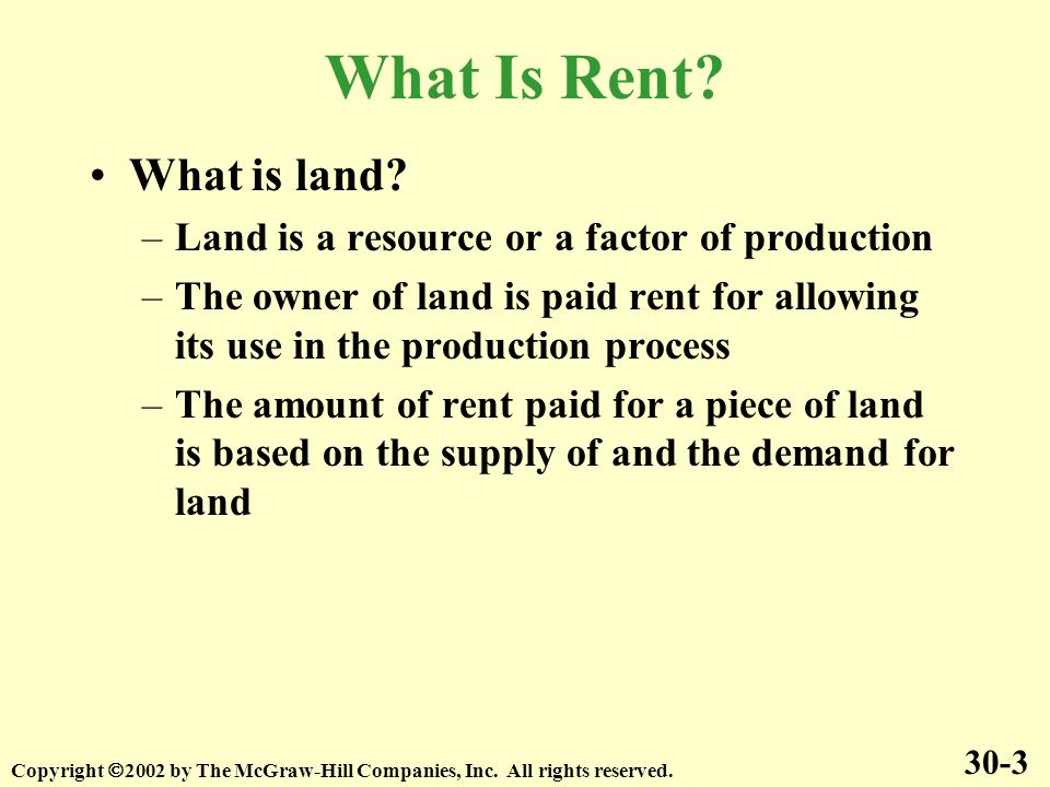 What Is Rent. What is land.