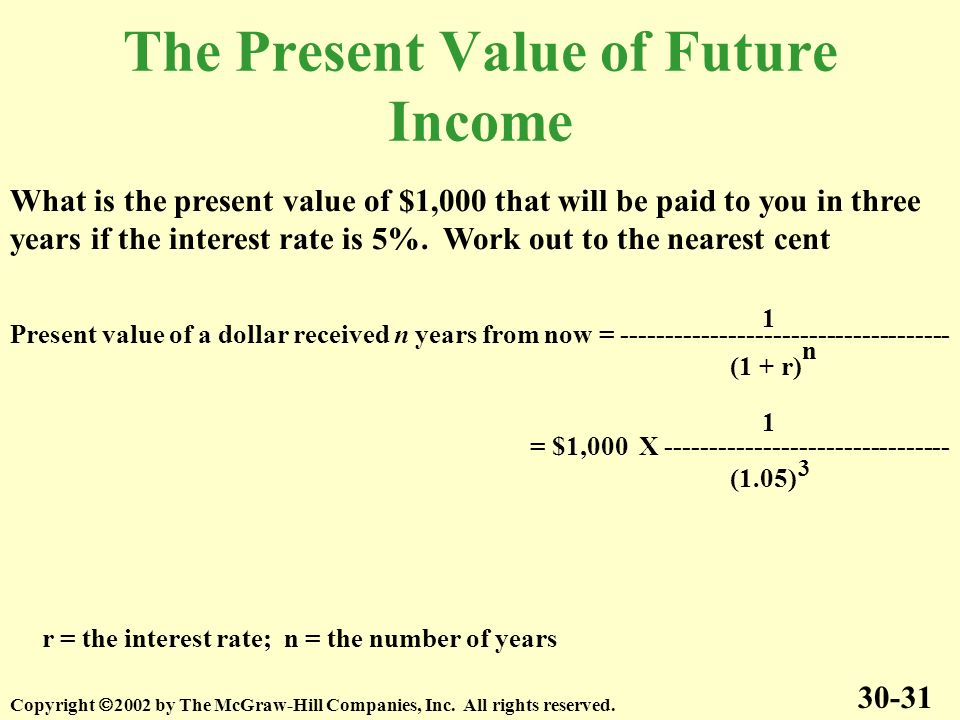 The Present Value of Future Income 30-31 Copyright 2002 by The McGraw-Hill Companies, Inc.