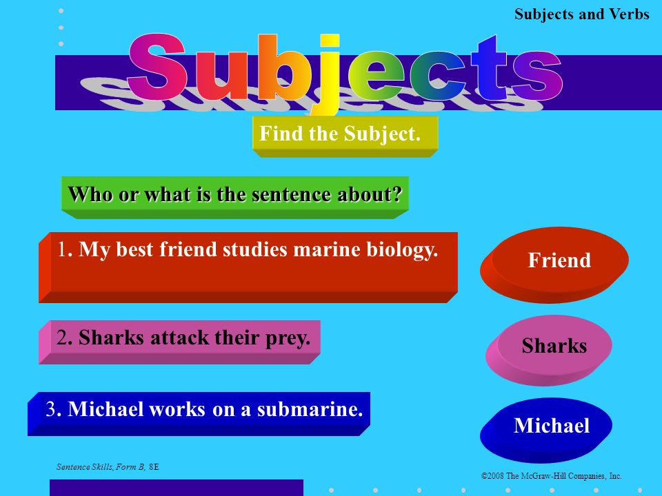 Subjects and Verbs Find the Subject. Who or what is the sentence about.