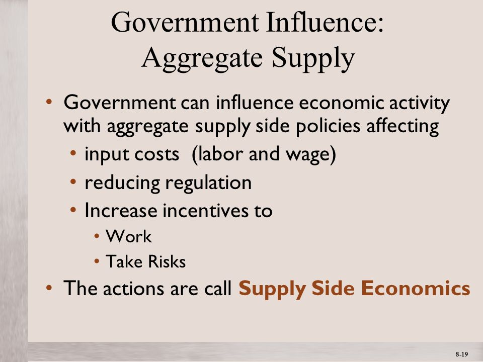 1- 19 ©2012 The McGraw-Hill Companies, All Rights ReservedMcGraw-Hill/Irwin 8-19 Government Influence: Aggregate Supply Government can influence economic activity with aggregate supply side policies affecting input costs (labor and wage) reducing regulation Increase incentives to Work Take Risks The actions are call Supply Side Economics