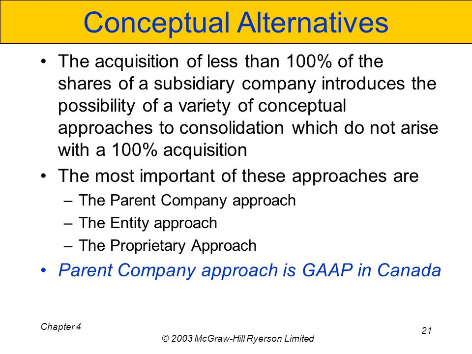 Chapter 4 © 2003 McGraw-Hill Ryerson Limited 21 Conceptual Alternatives The acquisition of less than 100% of the shares of a subsidiary company introduces the possibility of a variety of conceptual approaches to consolidation which do not arise with a 100% acquisition The most important of these approaches are –The Parent Company approach –The Entity approach –The Proprietary Approach Parent Company approach is GAAP in Canada