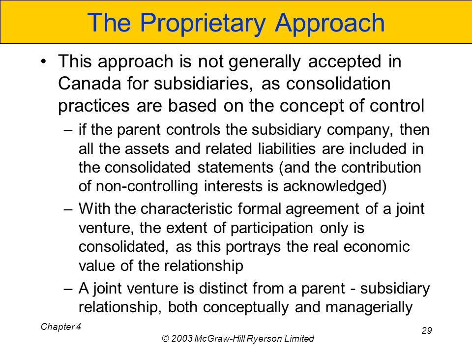Chapter 4 © 2003 McGraw-Hill Ryerson Limited 29 The Proprietary Approach This approach is not generally accepted in Canada for subsidiaries, as consolidation practices are based on the concept of control –if the parent controls the subsidiary company, then all the assets and related liabilities are included in the consolidated statements (and the contribution of non-controlling interests is acknowledged) –With the characteristic formal agreement of a joint venture, the extent of participation only is consolidated, as this portrays the real economic value of the relationship –A joint venture is distinct from a parent - subsidiary relationship, both conceptually and managerially