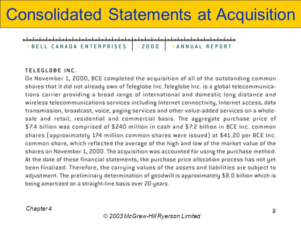 Chapter 4 © 2003 McGraw-Hill Ryerson Limited 9 Consolidated Statements at Acquisition