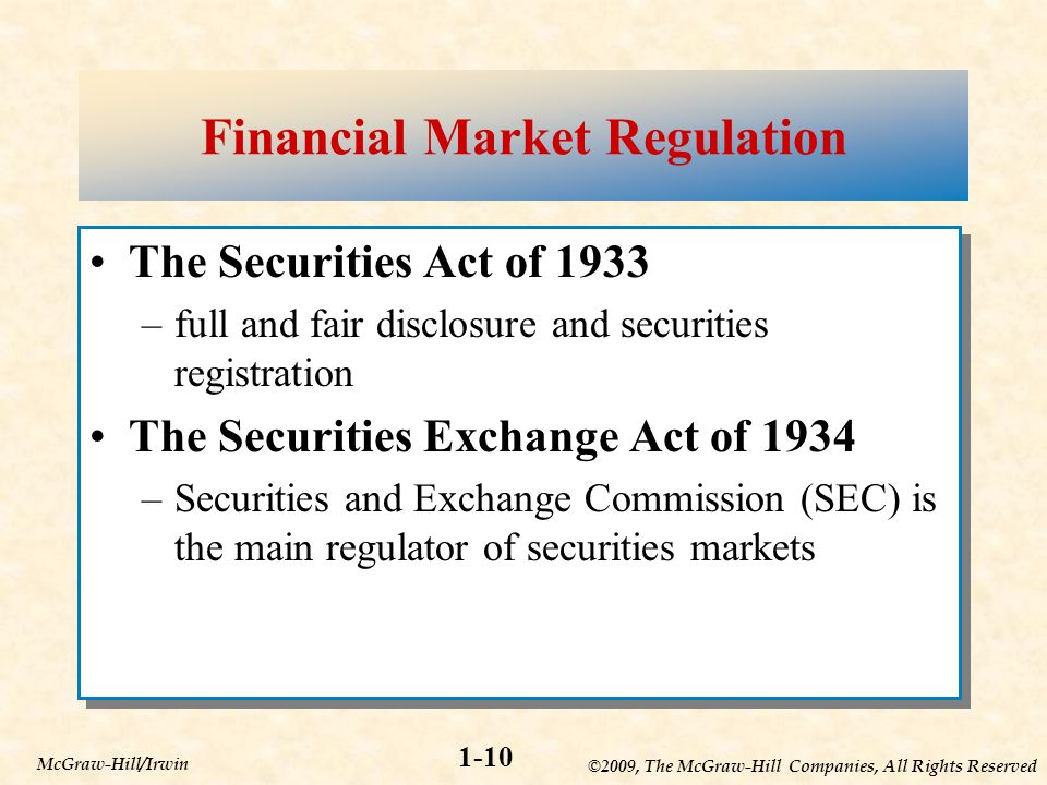 ©2009, The McGraw-Hill Companies, All Rights Reserved 1-10 McGraw-Hill/Irwin Financial Market Regulation The Securities Act of 1933 –full and fair disclosure and securities registration The Securities Exchange Act of 1934 –Securities and Exchange Commission (SEC) is the main regulator of securities markets The Securities Act of 1933 –full and fair disclosure and securities registration The Securities Exchange Act of 1934 –Securities and Exchange Commission (SEC) is the main regulator of securities markets