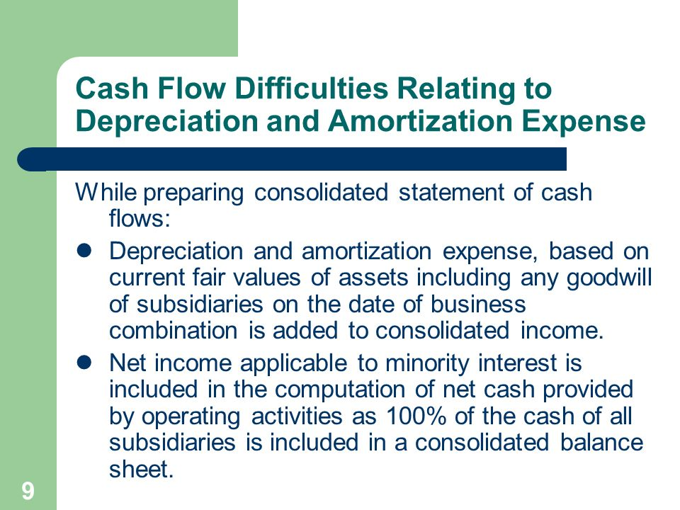 8 Consolidated Statement of Cash Flows Consolidated financial statement issued by publicly owned companies include a statement of cash flows which may present the following problems: Depreciation and amortization expense.