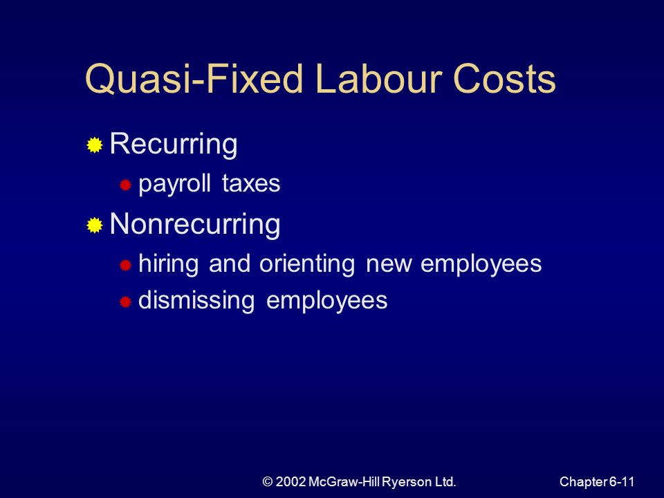 © 2002 McGraw-Hill Ryerson Ltd.Chapter 6-11 Quasi-Fixed Labour Costs Recurring payroll taxes Nonrecurring hiring and orienting new employees dismissing employees