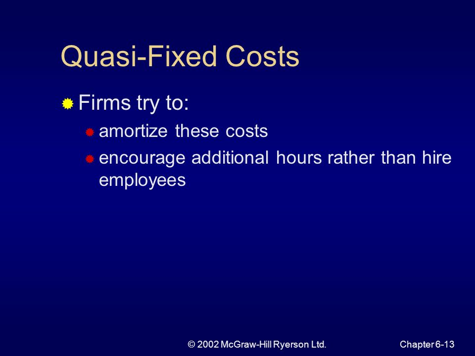 © 2002 McGraw-Hill Ryerson Ltd.Chapter 6-13 Quasi-Fixed Costs Firms try to: amortize these costs encourage additional hours rather than hire employees