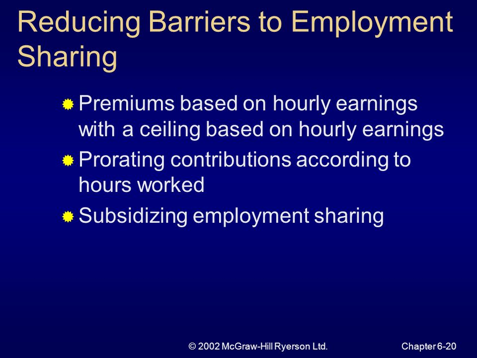 © 2002 McGraw-Hill Ryerson Ltd.Chapter 6-20 Reducing Barriers to Employment Sharing Premiums based on hourly earnings with a ceiling based on hourly earnings Prorating contributions according to hours worked Subsidizing employment sharing