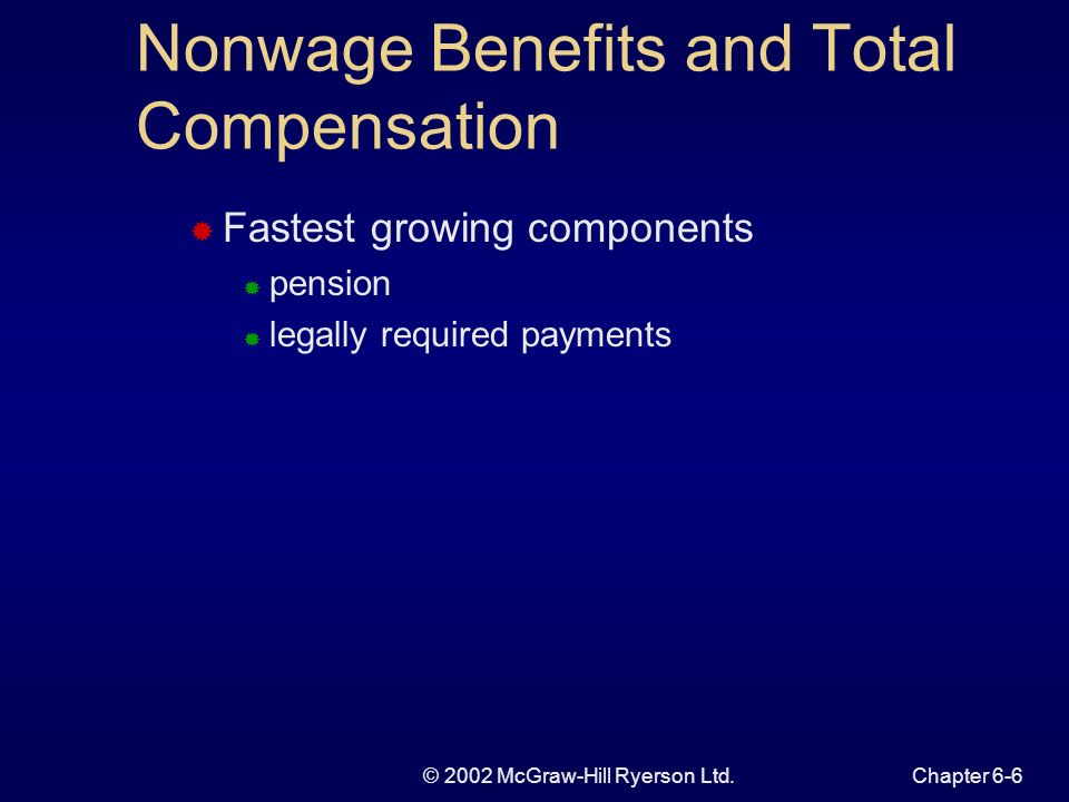 © 2002 McGraw-Hill Ryerson Ltd.Chapter 6-6 Nonwage Benefits and Total Compensation Fastest growing components pension legally required payments