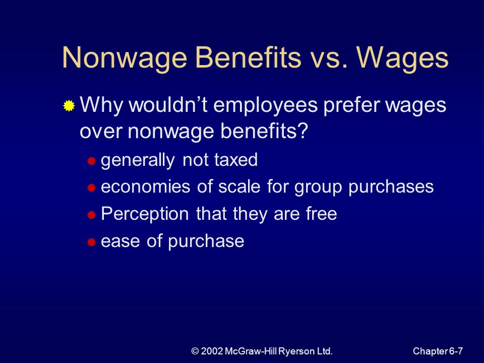 © 2002 McGraw-Hill Ryerson Ltd.Chapter 6-7 Nonwage Benefits vs.