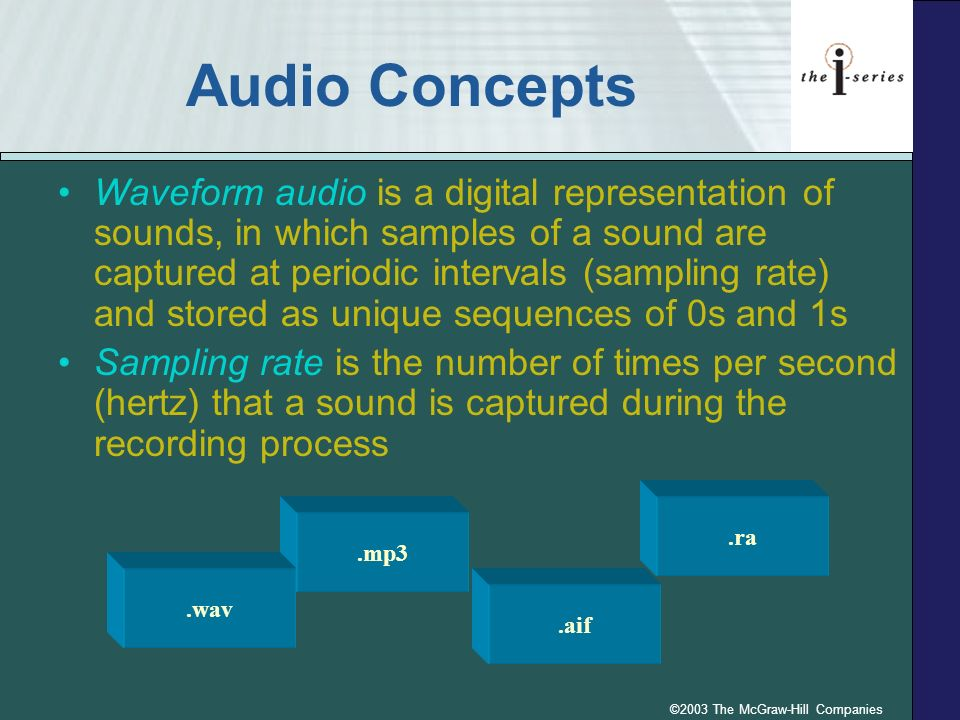 ©2003 The McGraw-Hill Companies Audio Concepts Waveform audio is a digital representation of sounds, in which samples of a sound are captured at periodic intervals (sampling rate) and stored as unique sequences of 0s and 1s Sampling rate is the number of times per second (hertz) that a sound is captured during the recording process.aif.ra.mp3.wav