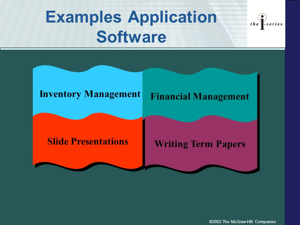 ©2003 The McGraw-Hill Companies Examples Application Software Inventory Management Financial Management Writing Term Papers Slide Presentations