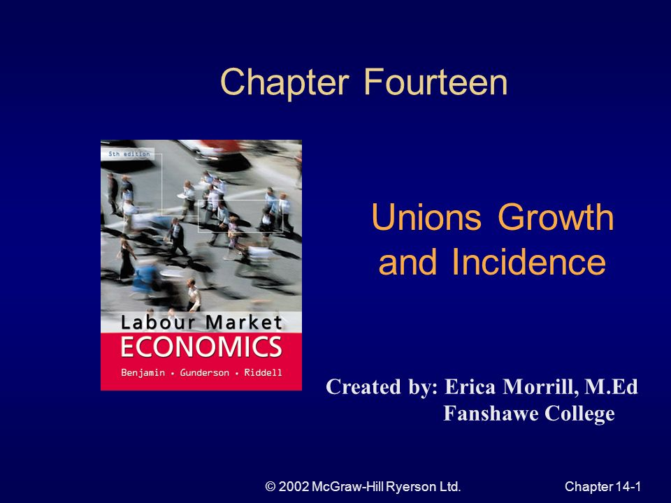© 2002 McGraw-Hill Ryerson Ltd.Chapter 14-1 Chapter Fourteen Unions Growth and Incidence Created by: Erica Morrill, M.Ed Fanshawe College