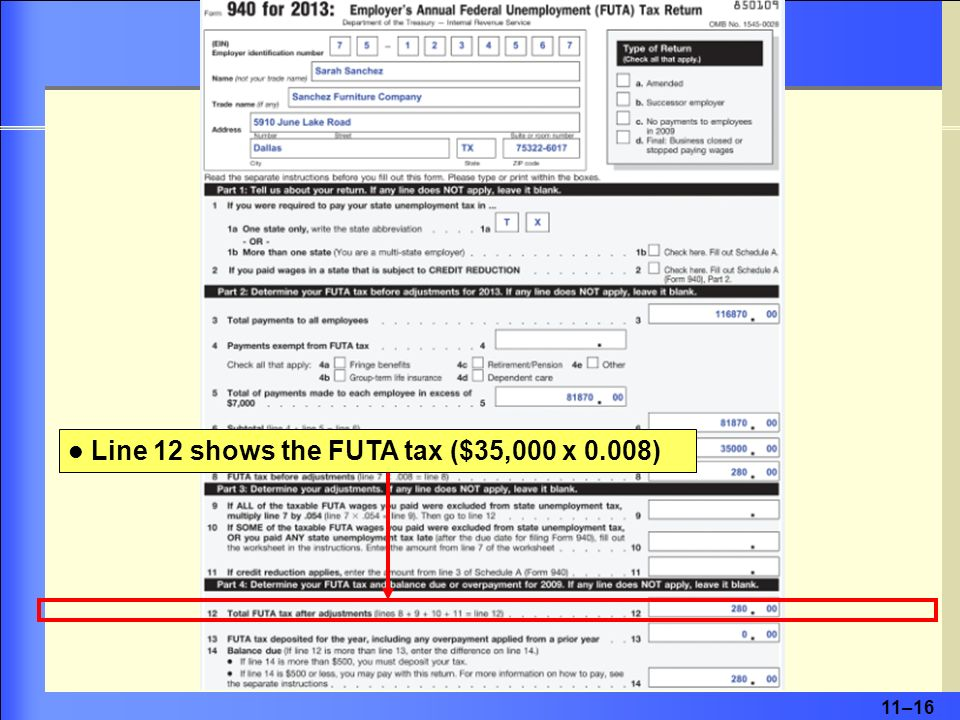 11–16 Line 12 shows the FUTA tax ($35,000 x 0.008)