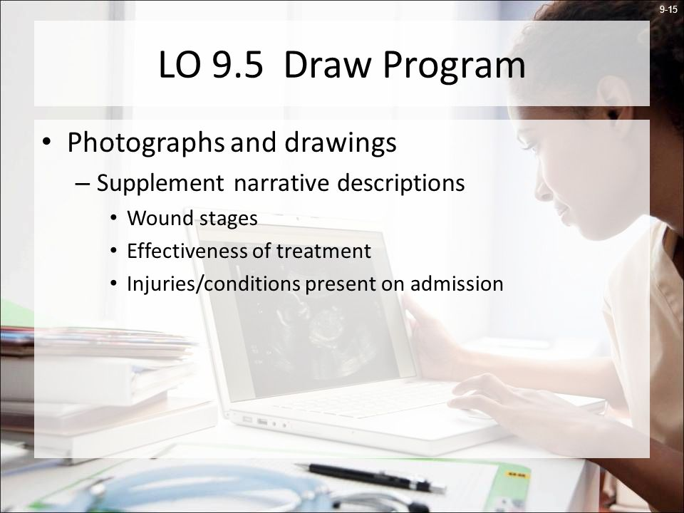 9-15 LO 9.5 Draw Program Photographs and drawings – Supplement narrative descriptions Wound stages Effectiveness of treatment Injuries/conditions present on admission