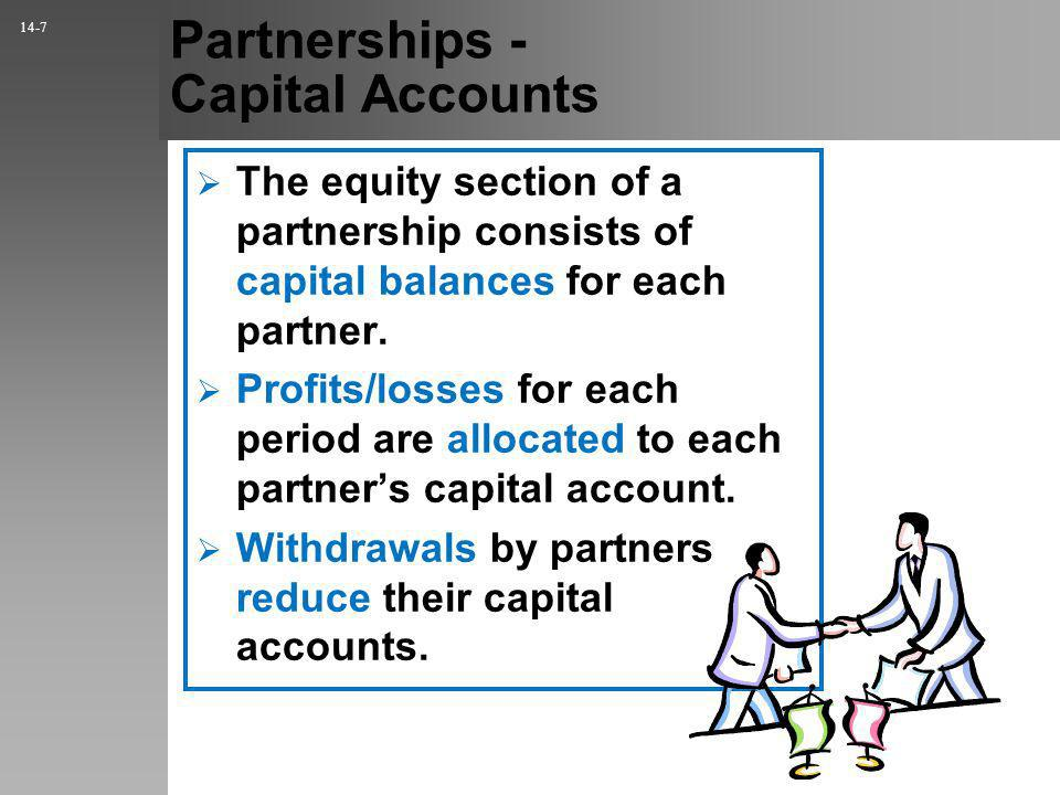 Partnerships - Capital Accounts The equity section of a partnership consists of capital balances for each partner.