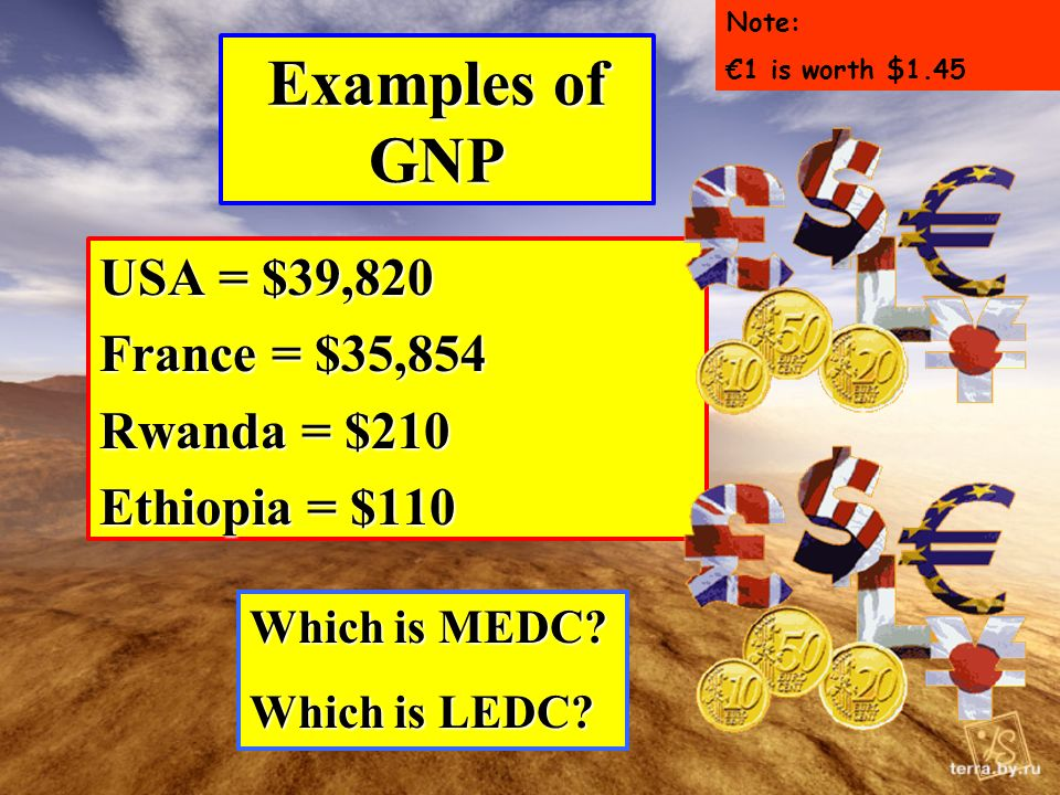 Examples of GNP USA = $39,820 France = $35,854 Rwanda = $210 Ethiopia = $110 Which is MEDC.