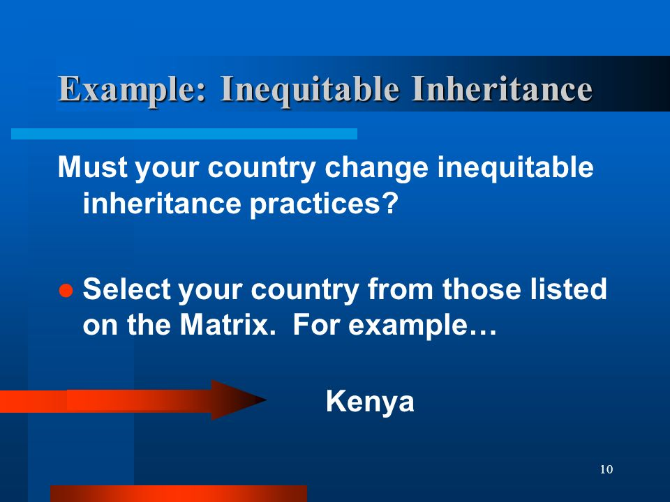 10 Example: Inequitable Inheritance Must your country change inequitable inheritance practices.