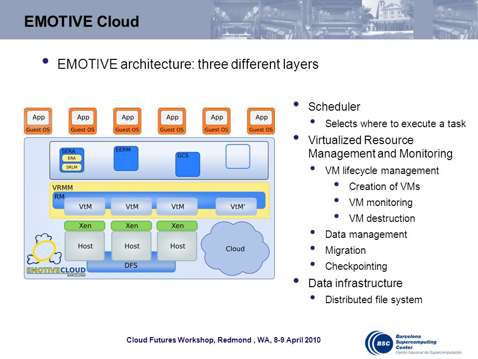 Cloud Futures Workshop, Redmond, WA, 8-9 April 2010 EMOTIVE Cloud Scheduler Selects where to execute a task Virtualized Resource Management and Monitoring VM lifecycle management Creation of VMs VM monitoring VM destruction Data management Migration Checkpointing Data infrastructure Distributed file system EMOTIVE architecture: three different layers