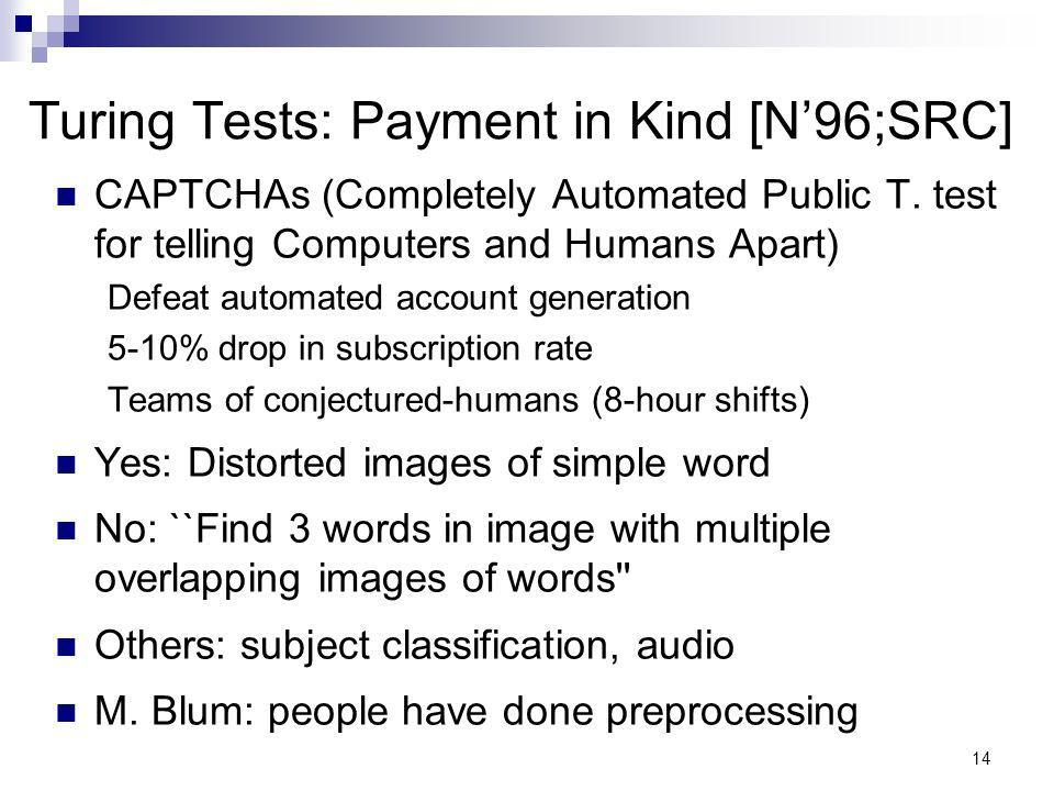 14 Turing Tests: Payment in Kind [N96;SRC] CAPTCHAs (Completely Automated Public T.