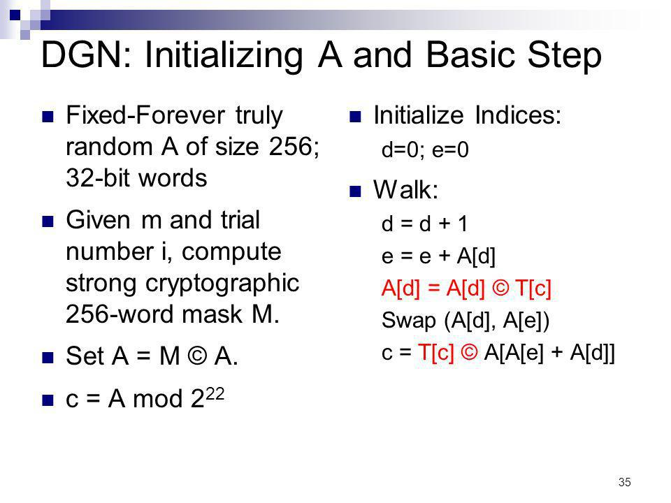 35 DGN: Initializing A and Basic Step Fixed-Forever truly random A of size 256; 32-bit words Given m and trial number i, compute strong cryptographic 256-word mask M.