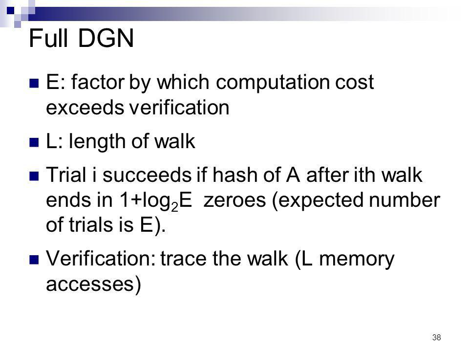 38 Full DGN E: factor by which computation cost exceeds verification L: length of walk Trial i succeeds if hash of A after ith walk ends in 1+log 2 E zeroes (expected number of trials is E).