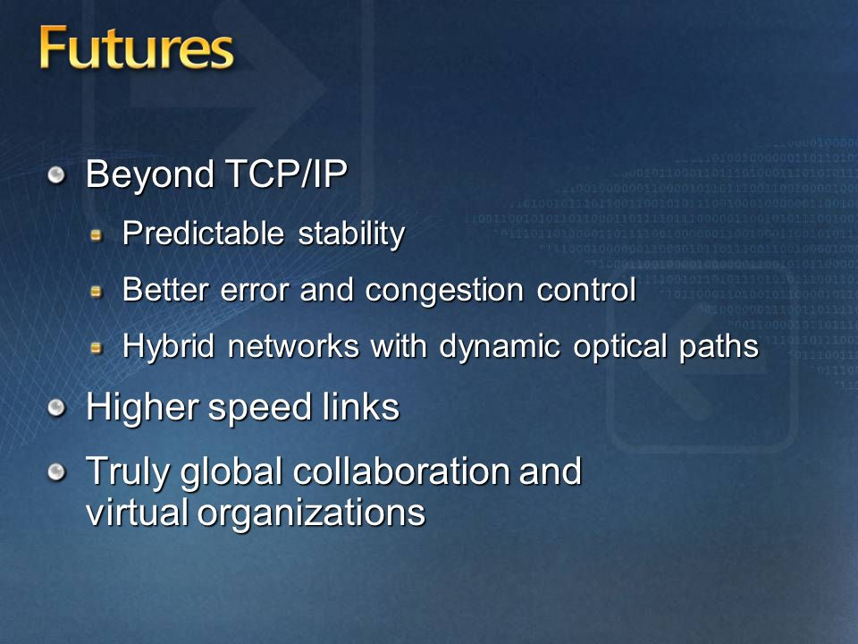 Futures Beyond TCP/IP Predictable stability Better error and congestion control Hybrid networks with dynamic optical paths Higher speed links Truly global collaboration and virtual organizations