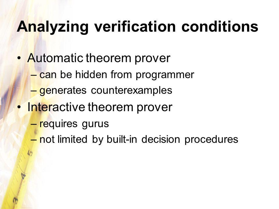 Analyzing verification conditions Automatic theorem prover –can be hidden from programmer –generates counterexamples Interactive theorem prover –requires gurus –not limited by built-in decision procedures