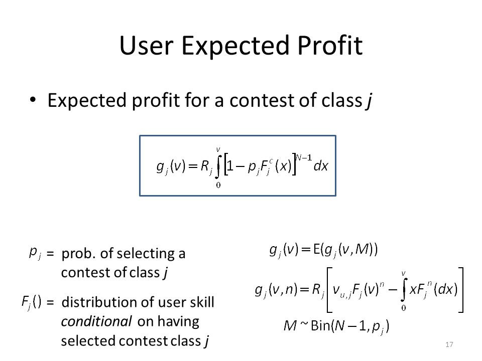 User Expected Profit Expected profit for a contest of class j = prob.