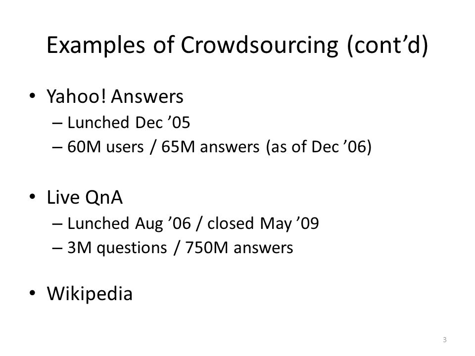 Examples of Crowdsourcing (contd) Yahoo.