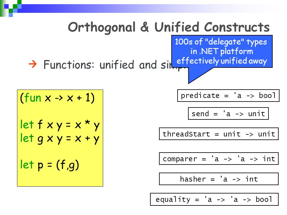 Orthogonal & Unified Constructs Functions: unified and simple (fun x -> x + 1) let f x y = x * y let g x y = x + y let p = (f,g) predicate = a -> bool send = a -> unit threadStart = unit -> unit comparer = a -> a -> int hasher = a -> int equality = a -> a -> bool 100s of delegate types in.NET platform effectively unified away