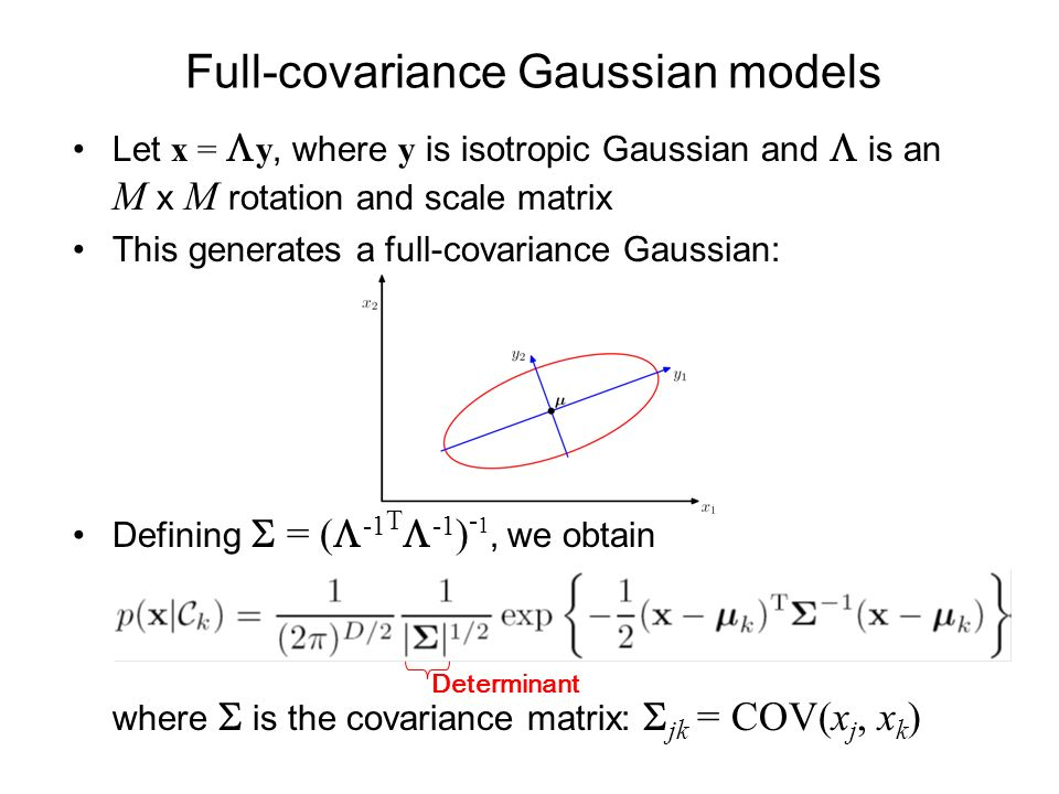 Full-covariance Gaussian models Let x = y, where y is isotropic Gaussian and is an M x M rotation and scale matrix This generates a full-covariance Gaussian: Defining = ( -1 T -1 ) - 1, we obtain where is the covariance matrix: jk = COV(x j, x k ) Determinant