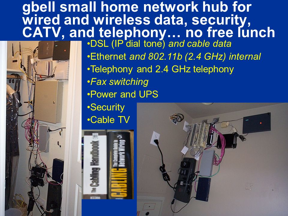 © 2002 gbell small home network hub for wired and wireless data, security, CATV, and telephony… no free lunch DSL (IP dial tone) and cable data Ethernet and 802.11b (2.4 GHz) internal Telephony and 2.4 GHz telephony Fax switching Power and UPS Security Cable TV