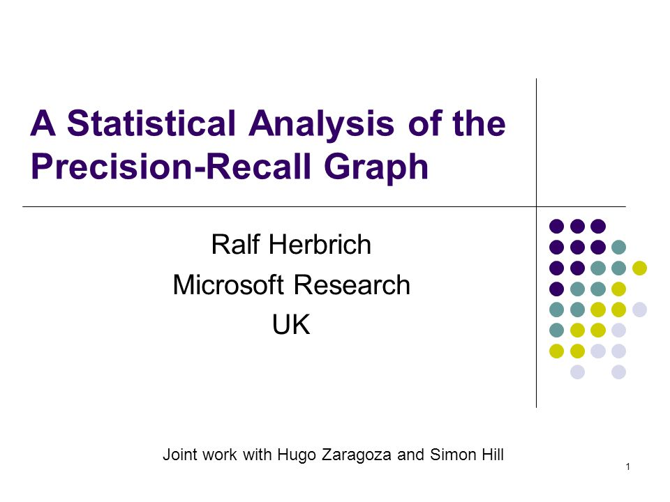 1 A Statistical Analysis of the Precision-Recall Graph Ralf Herbrich Microsoft Research UK Joint work with Hugo Zaragoza and Simon Hill