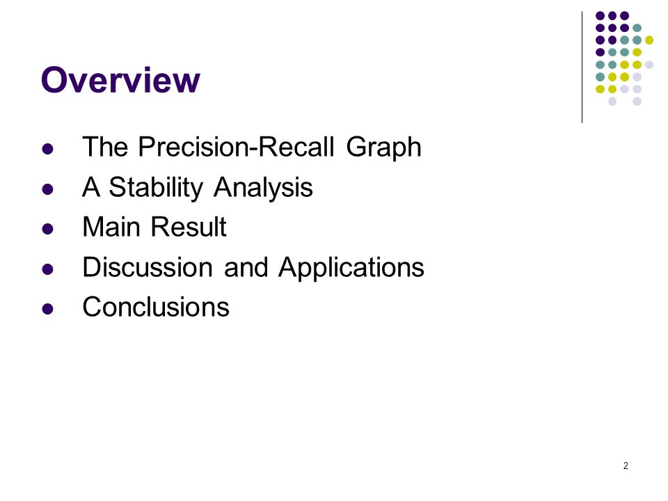2 Overview The Precision-Recall Graph A Stability Analysis Main Result Discussion and Applications Conclusions