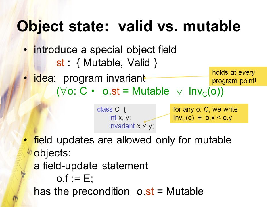 Object state: valid vs.
