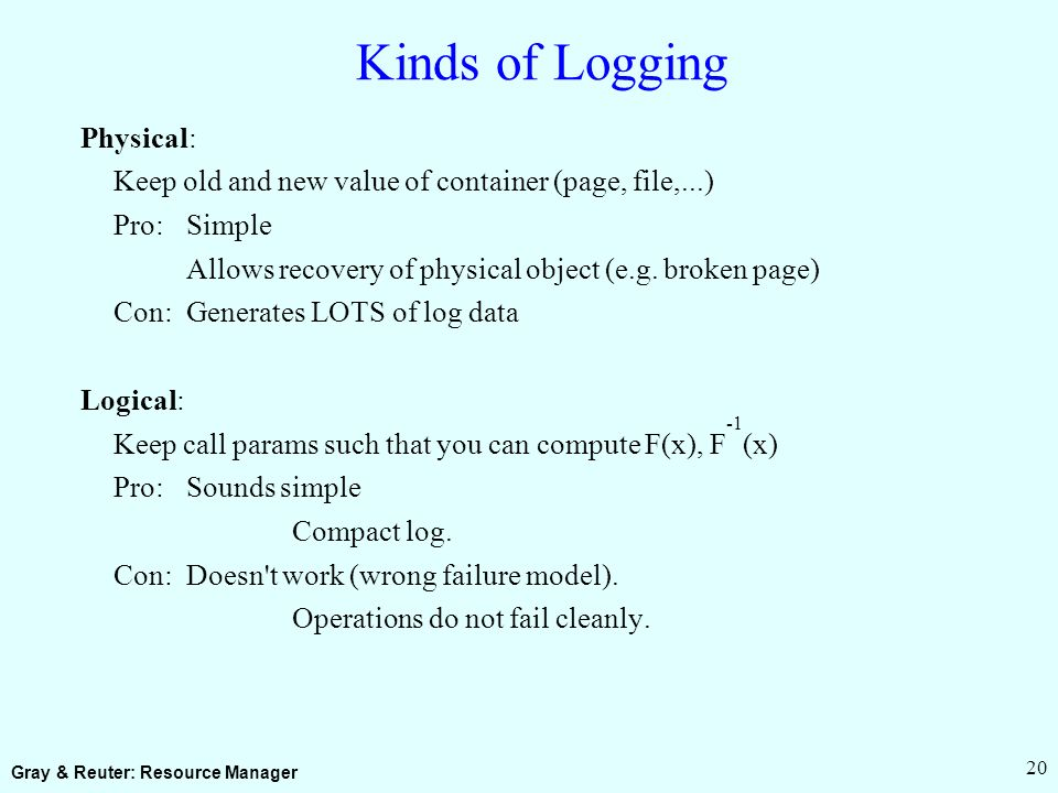 Gray & Reuter: Resource Manager 20 Kinds of Logging Physical: Keep old and new value of container (page, file,...) Pro: Simple Allows recovery of physical object (e.g.