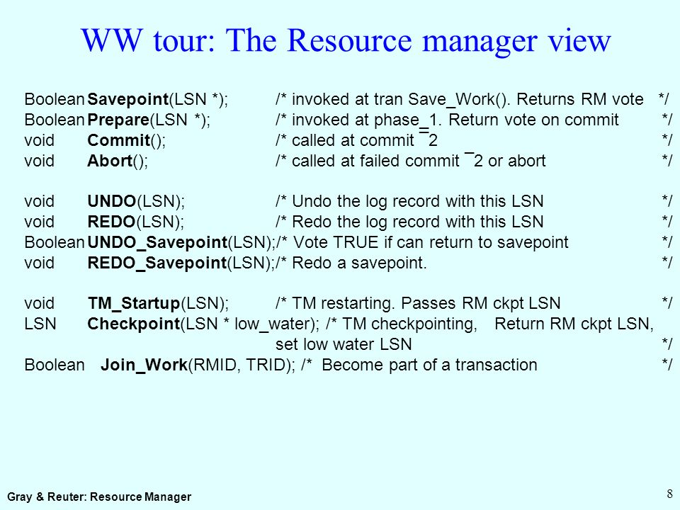 Gray & Reuter: Resource Manager 8 WW tour: The Resource manager view BooleanSavepoint(LSN *);/* invoked at tran Save_Work().