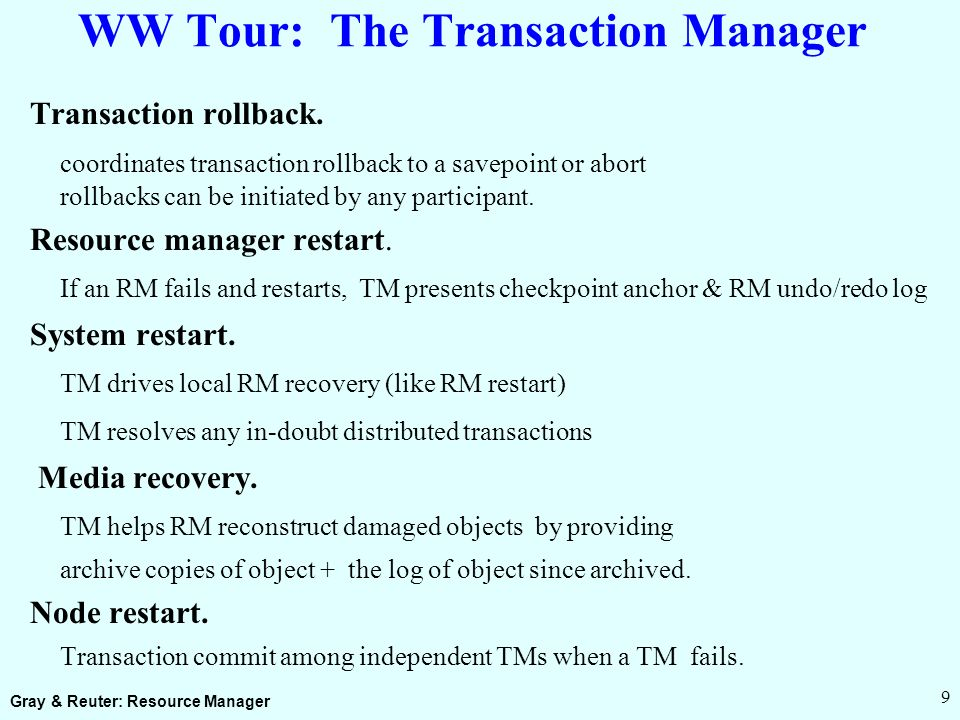 Gray & Reuter: Resource Manager 9 WW Tour: The Transaction Manager Transaction rollback.