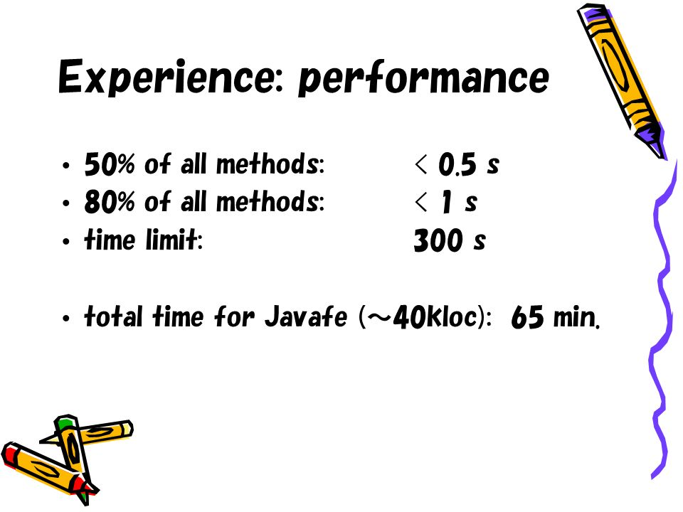 Experience: performance 50% of all methods:< 0.5 s 80% of all methods:< 1 s time limit:300 s total time for Javafe (40kloc): 65 min.
