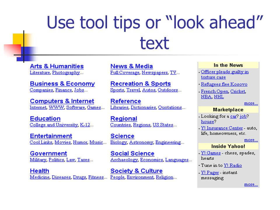 Use tool tips or look ahead text