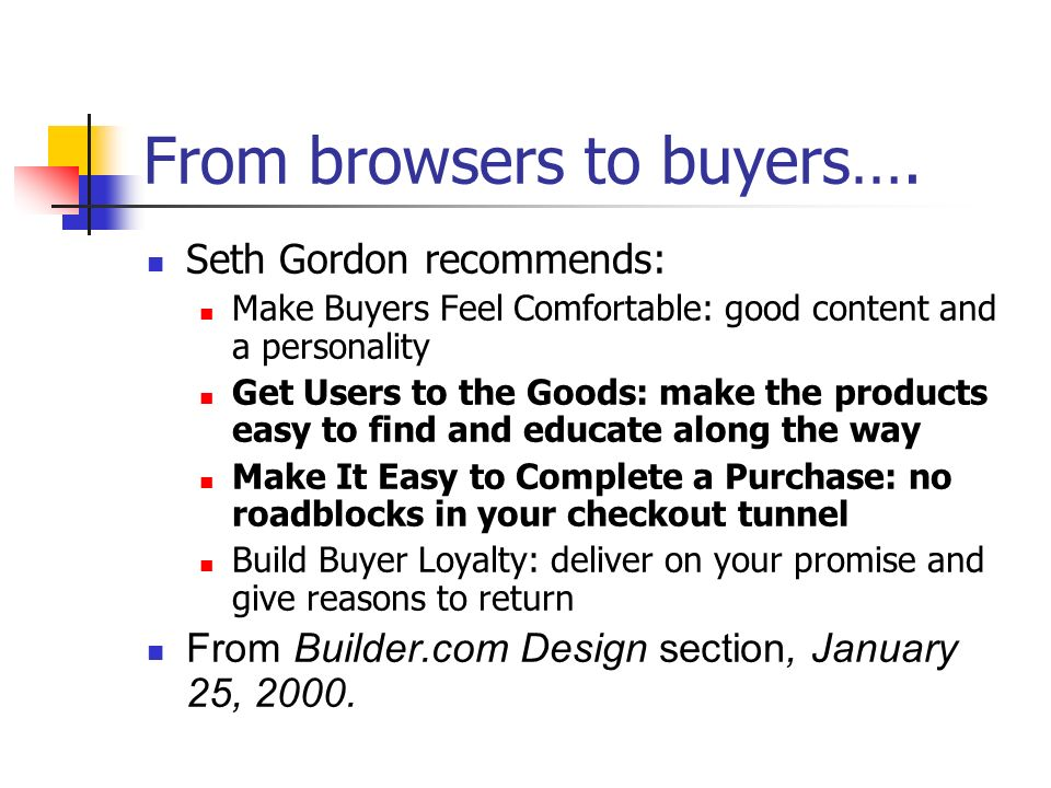 From browsers to buyers….