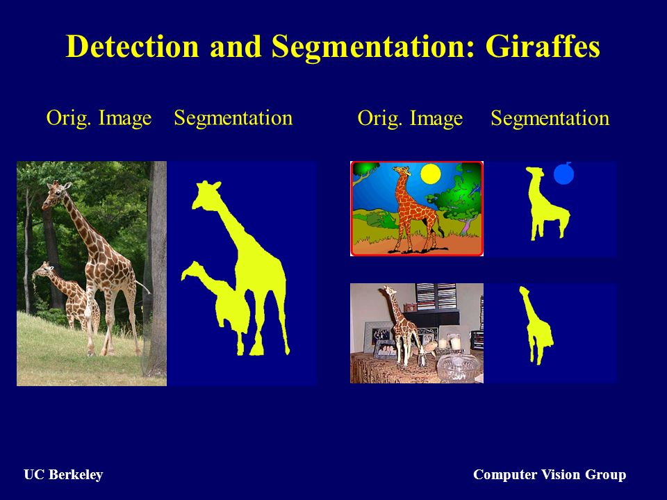 Computer Vision Group UC Berkeley Detection and Segmentation: Giraffes Orig.