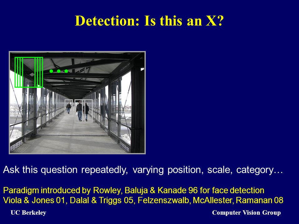 Computer Vision Group UC Berkeley Detection: Is this an X.